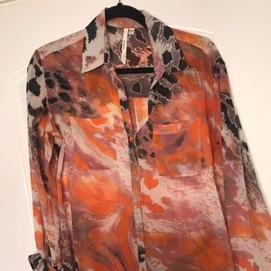Nordstroms Printed Chiffon Long-Sleeve | Size M